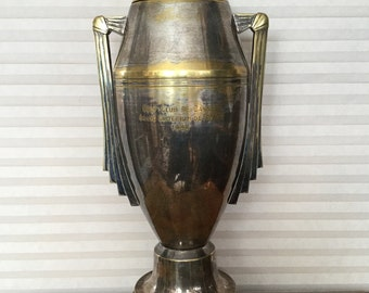 Antique French Huge Art Deco Silver over Bronze Loving Cup Cannes Trophy, Golf, Urn