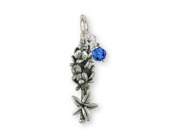 Bluebonnet Charm Jewelry Sterling Silver Handmade Flower Charm BB9-SC