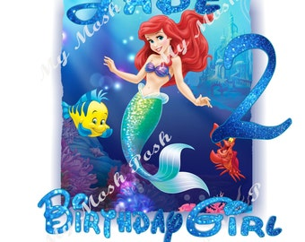 The Little Mermaid Digital Image Birthday girl princess