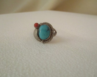 Turquoise and Red Coral Silver Ring