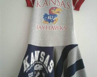 Upcycled Kansas Jayhawks dress, KU dress, basketball dress, size 6/7, Rock Chalk