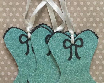 A Set of 3 Corset Gift Tags, Bachelorette Party, Paper Piecing, Die Cut, PreMade