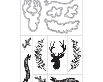 DEER Sprig Banner Stamp and Cut Die Set by Art-C Spellbinders die 25363 R7 cc22
