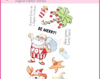 Merry TROPICAL CHRISTMAS stamps Clear Stamp by Art Impressions  4788 cc22