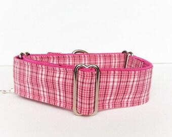 Pink plaid martingale collar (dog collar, greyhound, martingale, pink plaid, tartan, feminine, cotton satin)