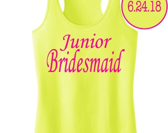 Junior Bridesmaid Tank Top With Personalized Date.Bridesmaid Shirt.Bride Gift.Wedding Shirts.Bridal Party Shirt.Bachelorette Party Shirts