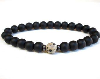 Dalmatian Jasper bracelet, Agate Matte bracelet, Men bracelet, Jasper bracelet, Gift for Him, Jasper  Agate Matte bracelet, Stretch bracelet