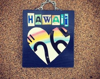 HAWAII Heart License Plate Sign. Heart sign. Heart decor. Hawaii sign. Hawaii wall hanging. Beach decor. Travel Art.