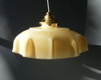 Beautiful Antique Pale Yellow Opaline Glass Ceiling Light Lamp,from the 1930s,