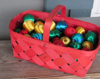 Large Red Basket of Silk Ornaments