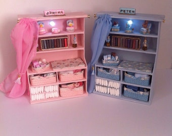 Dolls House Lit Nursery Dresser with a Beatrix Potter Theme