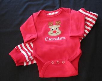 Personalized Children Christmas Pajamas - Reindeer Pajamas -Personalized  Reindeer Pajamas