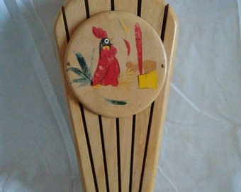 1950 Wood Knife Holder Retro Rooster Wall Hanging