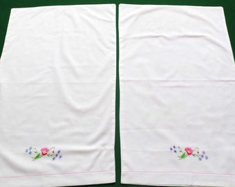 2 white cotton Pillowcases Hand Embroidered Flowers Floral decorative Embroidery  pillow case cover Set of 2