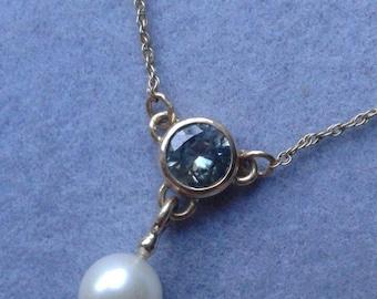14Kt Gold Blue Zircon & Pearl Lariat, December Birthstone