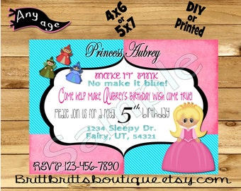 Princess Invitation first Birthday party Invitations Princess Custom Birthday invite 4x6 or 5x7 Digital OR Printed with envelopes