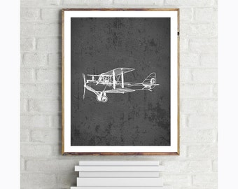 Vintage Biplane Airplane Printable - Slate - 8x10 Childrens Wall Art Print - Instant Download