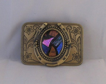 Very Unique Metal Belt Buckle with Horseshoe, Insert Fused Dichoric Glass