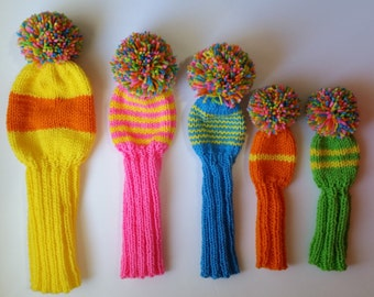 SALE Golf Club Head Covers Hand Knit Candy Colors Exclusive Set 5 for Woods/Hybrid/Putter Retro-Look Sock Style Pom Poms Pompoms Fairway