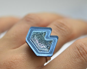 Blue Glitter Resin Geometric Sterling Silver Ring