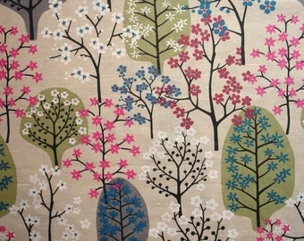 Fabric remnant Scandinavian linen fabric floral fabric Scandinavian design Scandinavian Fabric Swedish fabric, Spira Haga khaki