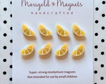 small SUPER STRONG MAGNETS tiny lemon slice magnet, kitchen magnet, hostess gift, bulletin board, office supply, lemons decor, fridge magnet