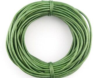 Green Metallic Light Round Leather Cord 1mm, 10 Feet