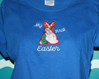 My First Easter bunny T-shirt - Easter Bunny t-Shirt - Custom Bunny shirt - Embroidered Boys first Easter Bunny t-shirt