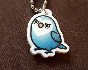 "Chubby Sassy Lovebird 1"" Pendant and Stainless Steel Ball Chain Necklace"
