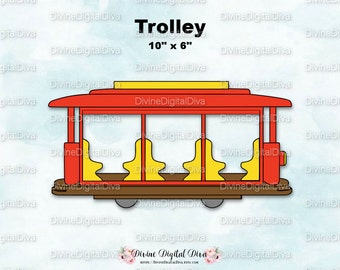 Trolley Street Car Train | Red & Yellow | Clipart Digital Image Instant Download