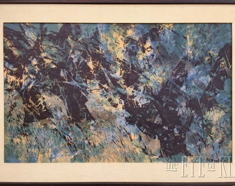 R.A. Smith Mid-Century MODERN Large ABSTRACT LANDSCAPE Serigraph Print Listed Ojai California Artist Signed Blue-Green Trees Robert Alan