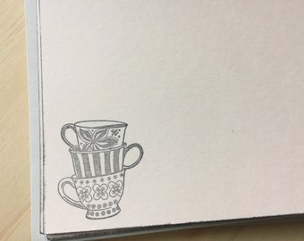 tea cup stationery, vintage tea cups note cards, stacking tea cups stationery set.