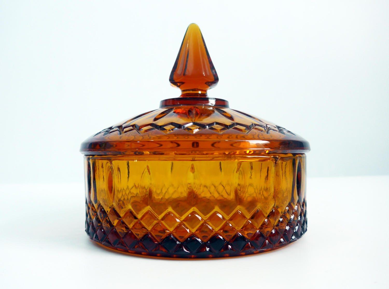 Vintage glassware- amber, orange and gold