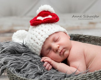 Bear Baby Hat, Photo Prop, Fuzzy Baby Hat, White Bear Hat, Hospital Baby Hat, Crochet Baby Hat, Animal Newborn Hat, Baby Bear Hats, Bear Hat