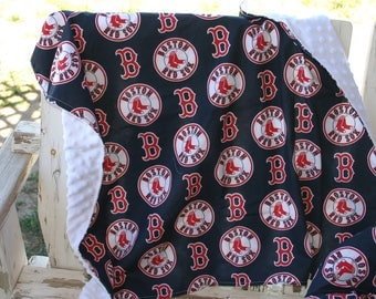 Boston Red Sox and white minky blanket 30x30