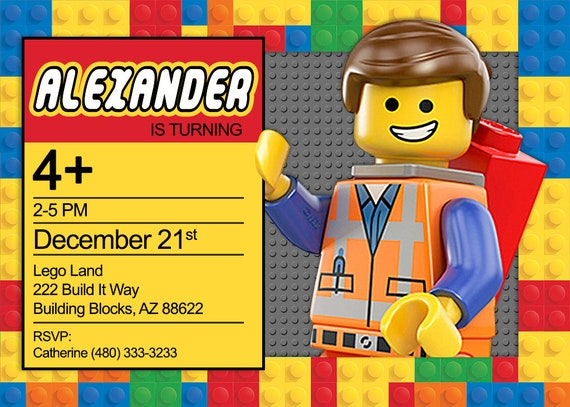 Lego Police Personalized Birthday Invitation Printable
