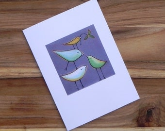 Birds on Gray, Eight blank notecards and envelopes