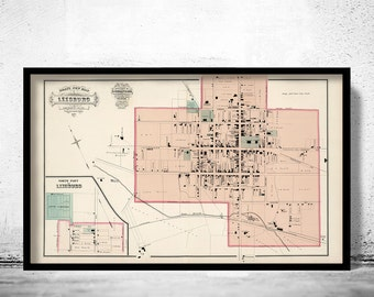 Old Map of Leesburg Virginia 1878