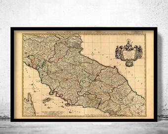 Great Map of Tuscany Toscana Italy 1708