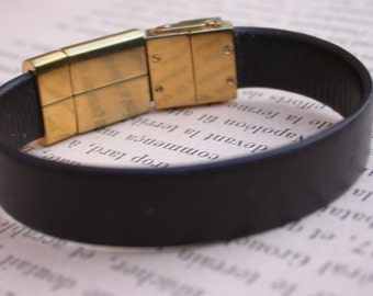 vintage gold vermeil Swatch leather bracelet diamond gold clasp bracelet