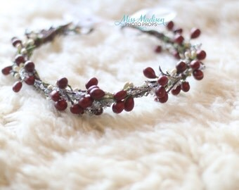 BEAUTIFUL CHRISTMAS/ Holiday Flower crown/ Head Wreath/ Bridal/ Photography Prop, Woodland Grapevine Flower Crown /