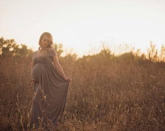 ANNA Maternity Dress for Photo Shoot/Chiffon Dress/Maternity Gown/ Maxi Dress/  Short Sleeve/ off the Shoulder/ Sweetheart Neckline