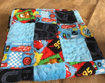 Minky and Flannel cars Quilt