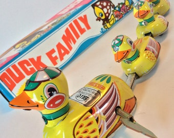 Wind Up Duck Family With Original Box, Made by Blic