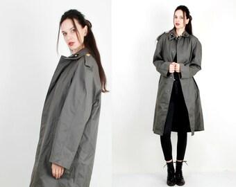 Vintage Coat/ Military Jacket / Grey Coat / Minimalist Duster / Men Coat Size M