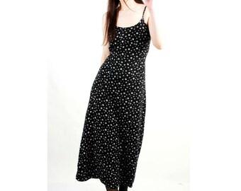 Vintage 90s Dress / 90s Long Dress / Grunge Dress / Floral Grunge Dress / Maxi Dress / 90s Dress / Summer Dress / Size M /S