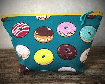 Cotton Donut Print Fabric Cosmetic Bag with Zipper