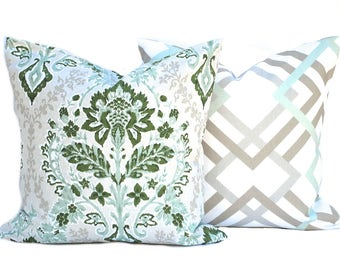 Two Sage green pillow covers, 1 Floral and 1 Geometric, decorative throw pillow, decorative pillow, accent pillow, Green Pillow, Tan Pillow
