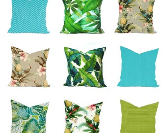 One Tropical outdoor pillow cover, Blue Pillow, decorative throw pillow, decorative pillow, accent pillow,  Throw Pillow, Green Pillow