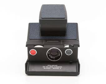 Polaroid SX-70 Alpha 1 Model 2 - reskinned with Dark Blue Leather - film Tested - Guaranteed Working